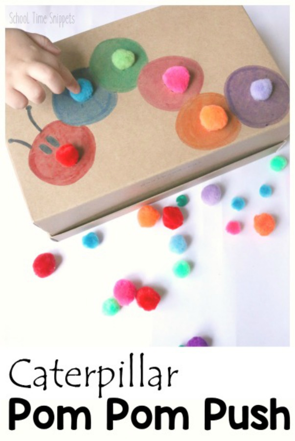 caterpillar color sorting activity for toddlers