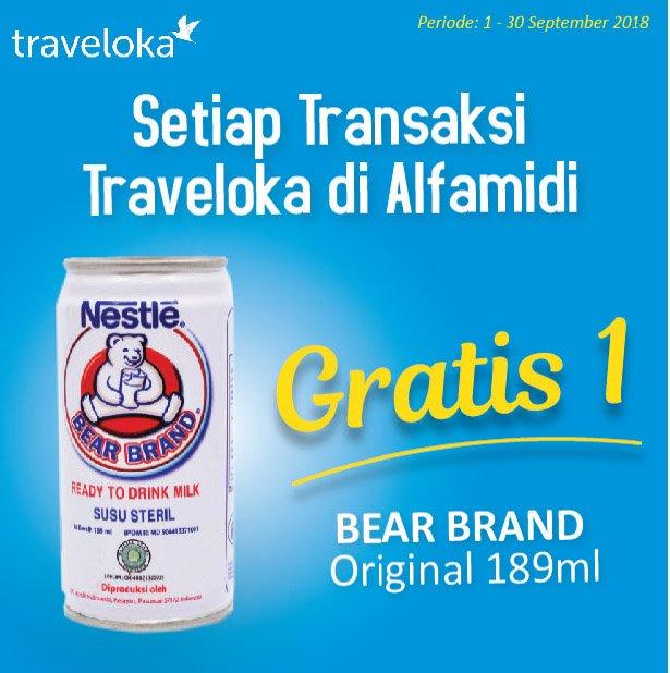 Alfamidi - Promo Bayar Traveloka Gratis 1 Susu Bear Brand Original 189 ml