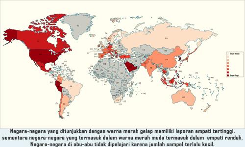 Peta Negara Dengan Peringkat Empati Tertinggi di Dunia