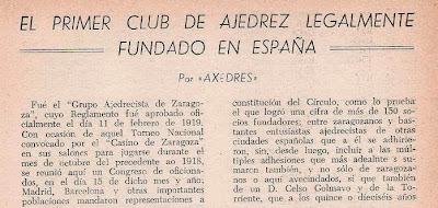 Recorte de parte del artículo de José Juncosa Molins acerca del primer club legalmente constituido
