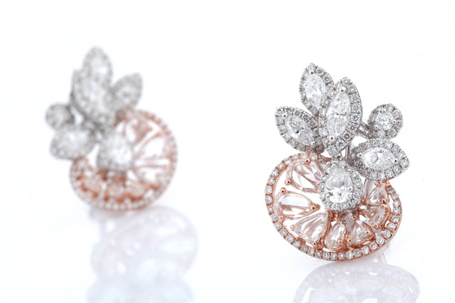 01 Entice Irresistible_ ear studs with marquise, pear & round diamonds along with rose cut diamonds in rose & white gold