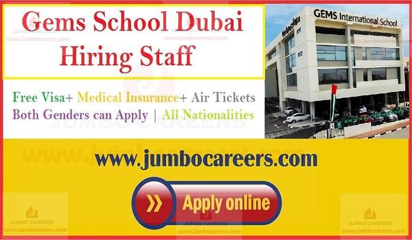 Gems education jobs in Dubai with free visa, Jobs at Gems school Dubai,