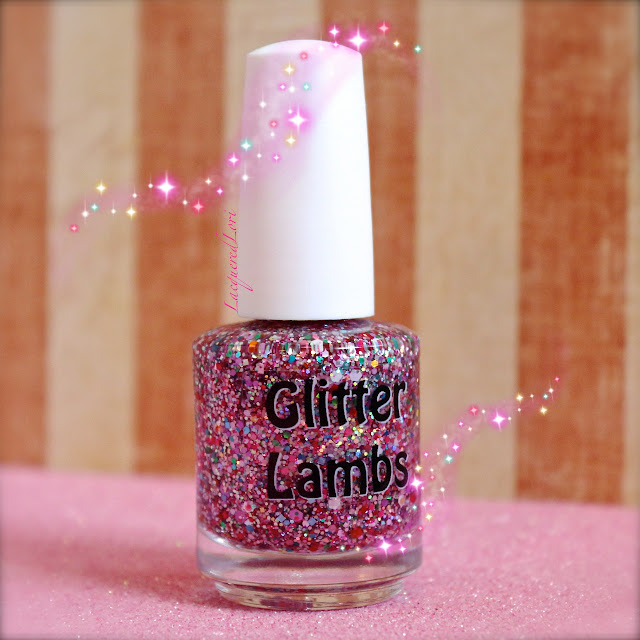 "Glitter Lambs ""Strawberry ShortCake"" Glitter Topper Nail Polish Picture By @LacqueredLori"