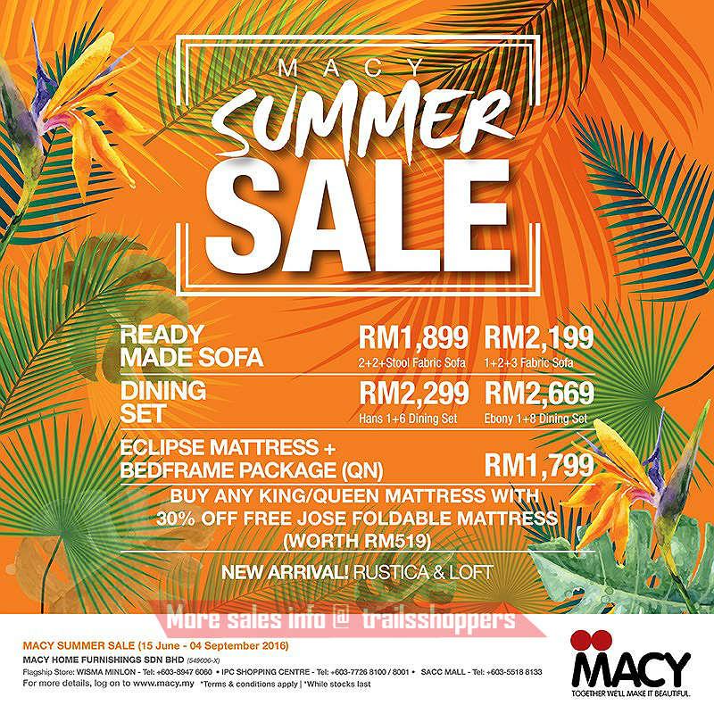 MACY Furniture Summer Sale end 4 SEPT 2016 Trailsshoppers