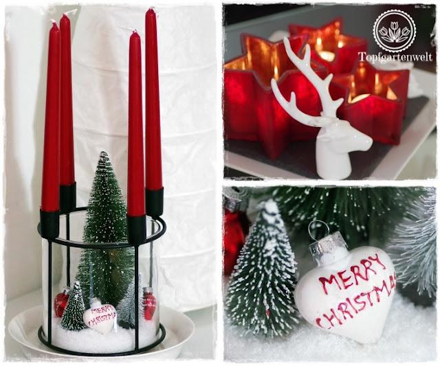Gartenblog Topfgartenwelt festliche Weihnachtsdekoration in Rot und Weiß + Rezept Flammkuchen: moderner Adventkranz mit Stabkerzen