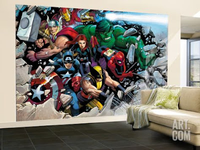 marvel tapet superhjältar fototapet thor hulk wolwerine captain america spiderman 3d genom vägg