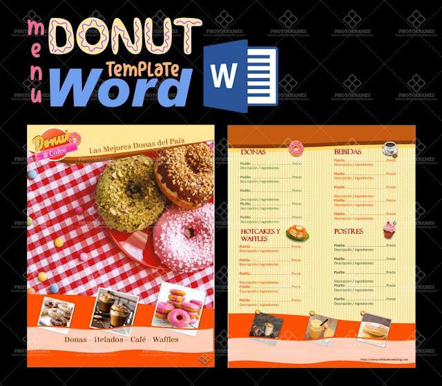 Plantilla Word de menú para postres, repostería, cafetería, panadería o venta de donas