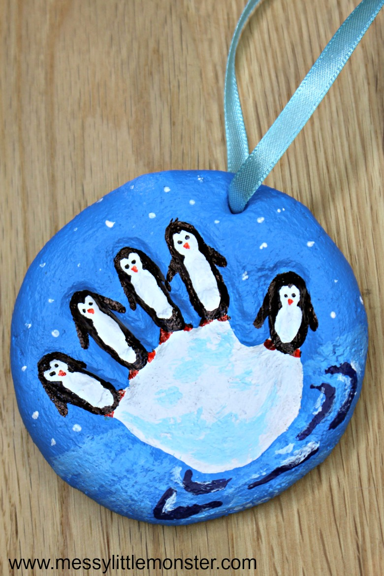 Penguin craft for kids. Salt dough handprint ornaments. Christmas crafts for kids. Winter art.