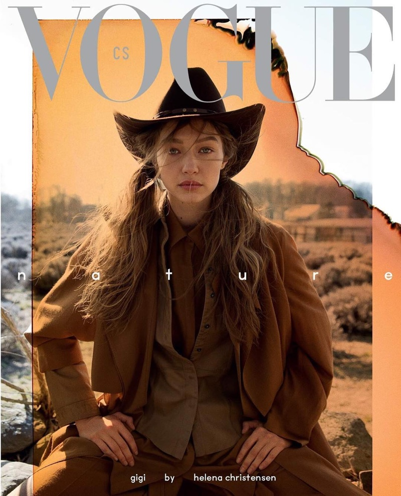 Gigi Hadid is photographed by Helena Christensen for Czech Vogue