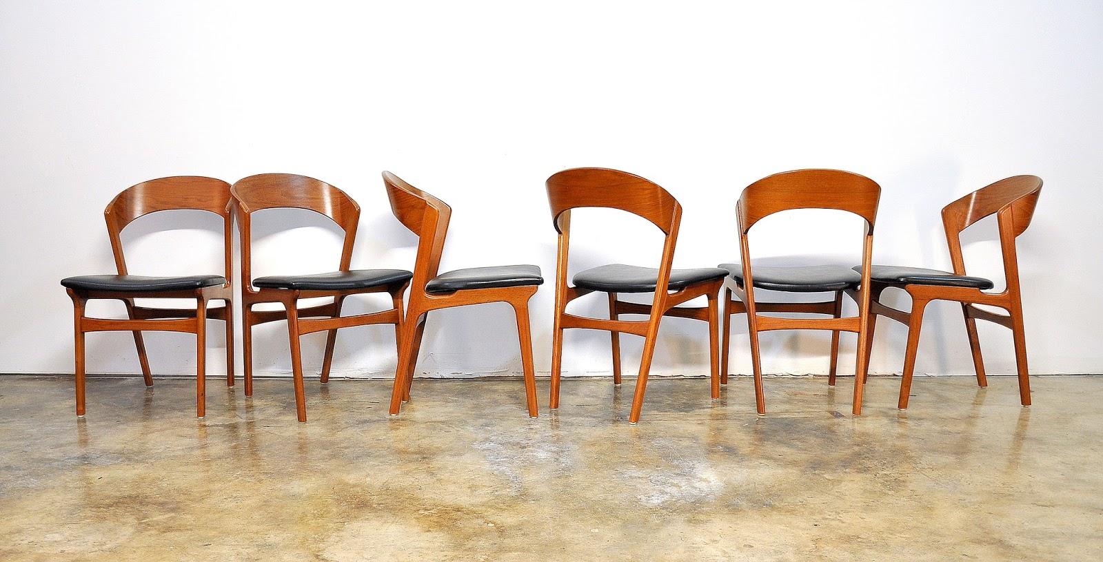 SELECT MODERN Set of Six Kai Kristiansen Teak Dining Chairs
