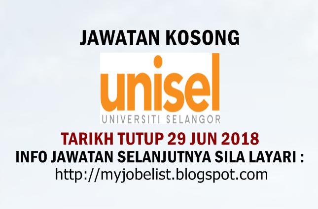 Jawatan Kosong Terkini di Universiti Selangor (UNISEL) Jun 2018