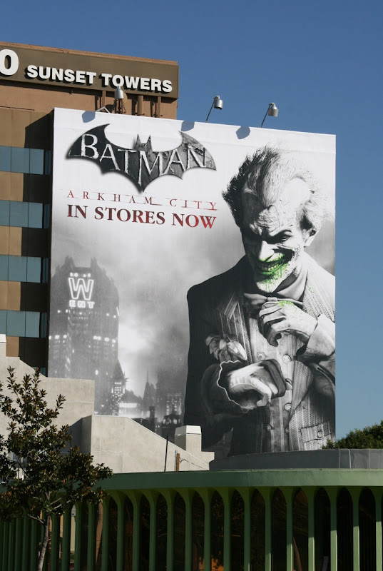 Joker Arkham City video game billboard