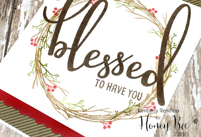 blessed | handmade card | twig wreath | wreath | honey bee stamps | kimpletekreativity.blogspot.com