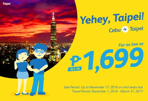 Cebu Pacific Promo Fare Taipei 2017