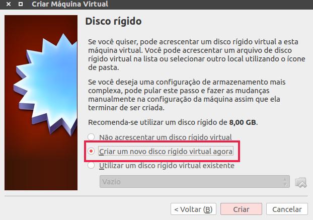 criar um disco no virtual box