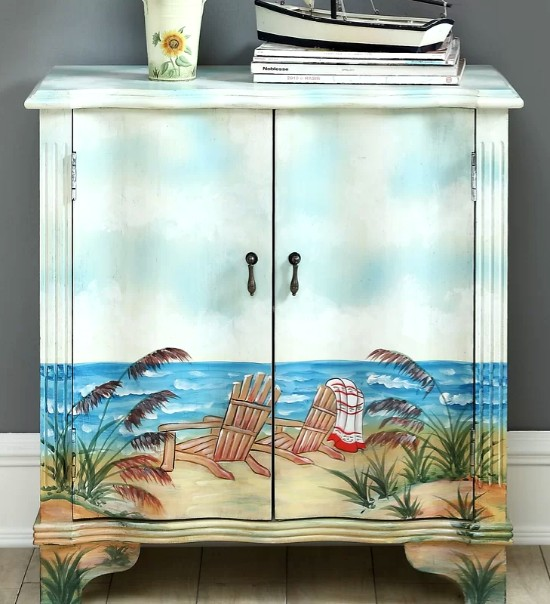 Beach Scene Painted Cabinet
