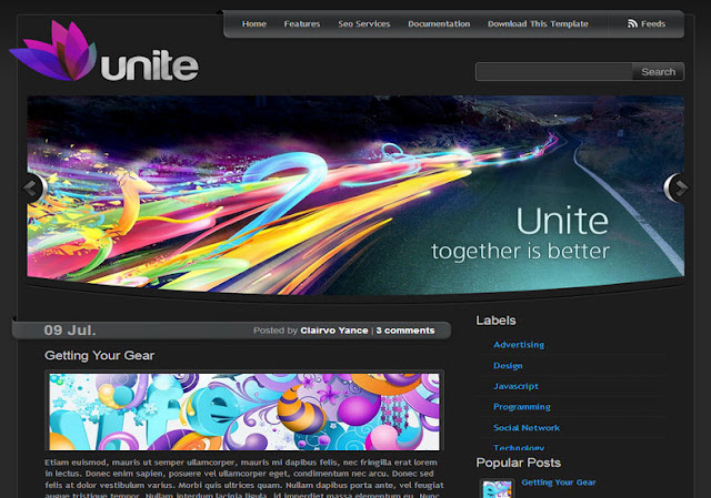 Unite Dark Blogger Template