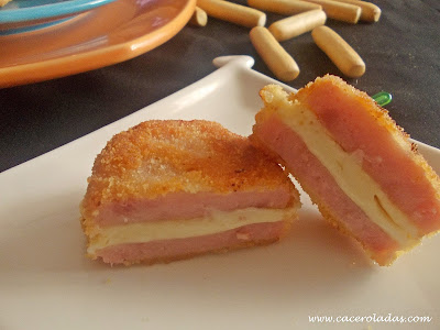 Mini san jacobos de jamón y queso