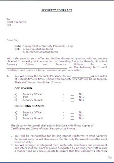 Security Service Contract Agreement Format