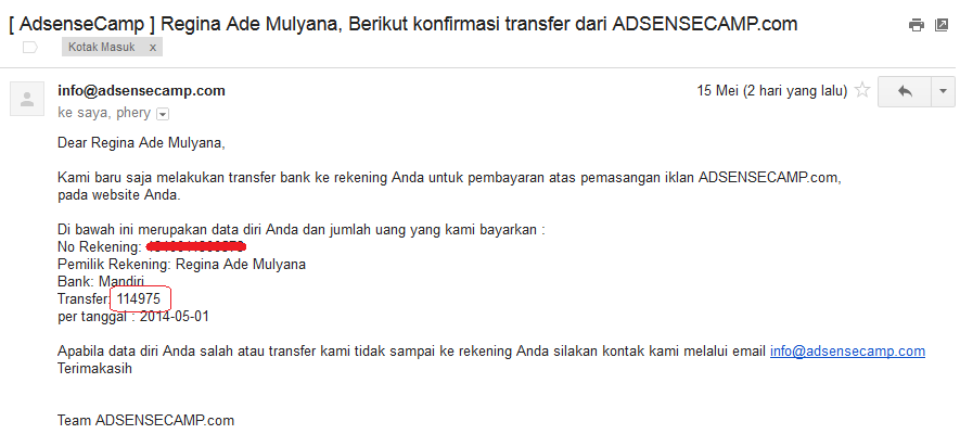 Bukti pembayaran dari AdsenseCamp
