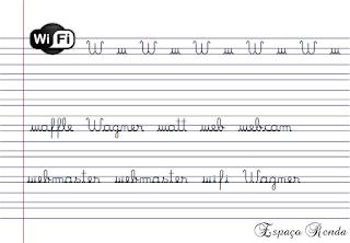 caderno de caligrafia letra W