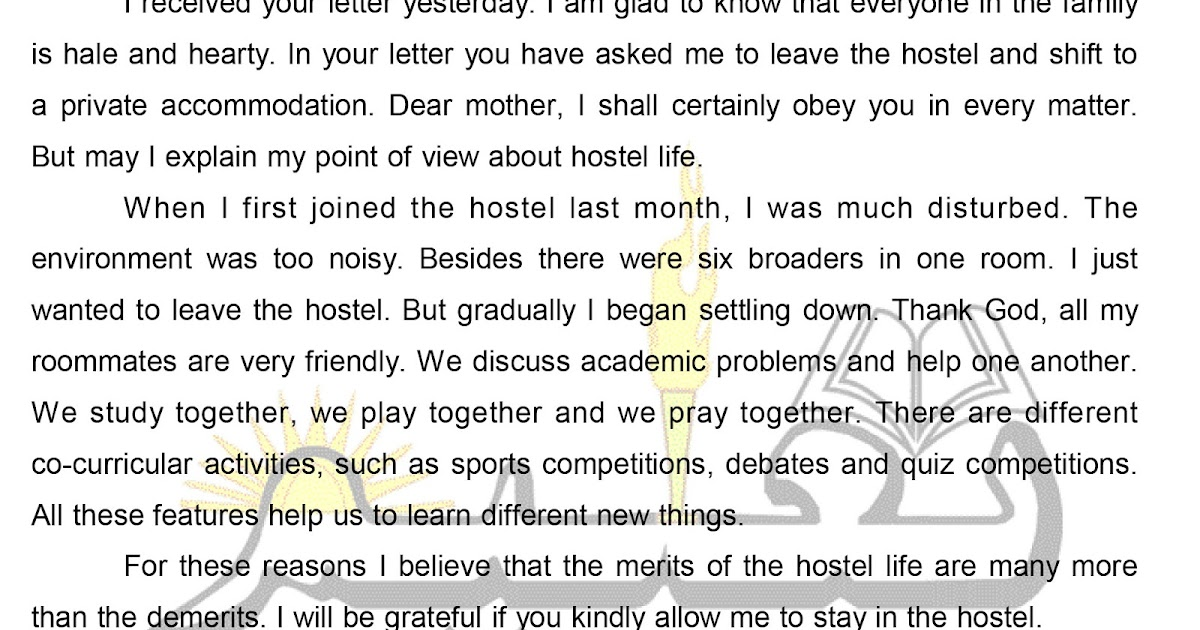 a letter to your mother about your hostel life