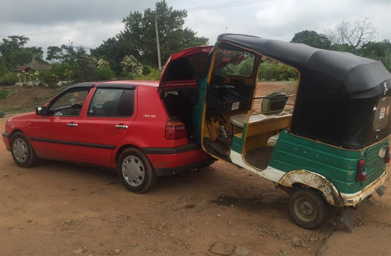 Nigerian Police arrest motorist for towing Keke tricycle like this