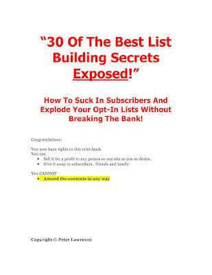 30 Of The Best List Secret Exposed in PDF Download eBook