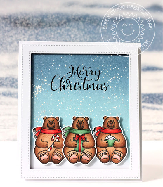 Sunny Studio Stamps: Playful Polar Bears Christmas Card by Karin Akesdotter