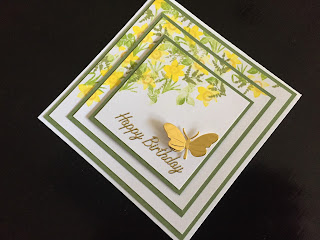 Cardio Majestix Golden Daffodils stamped birthday card