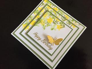 Cardio Majestix Golden Daffodils stamped birthday card