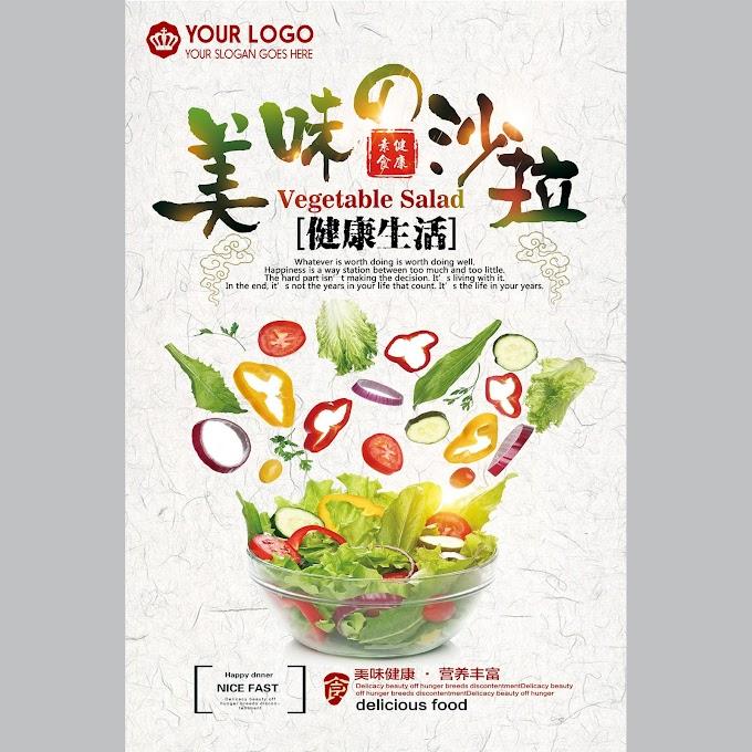 fresh healthy salad food poster free psd
