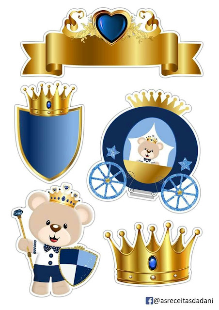 Baby Bear Blue Prince with Carriage: Free Printable Cake Toppers.