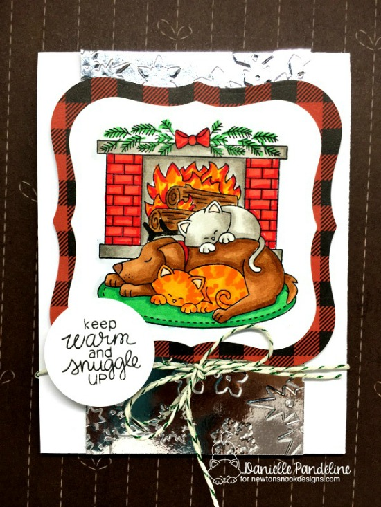 Dog and Cat by Fireplace Card by Danielle Pandeline | Fireside Friends Stamp Set by Newton's Nook Designs #newtonsnook