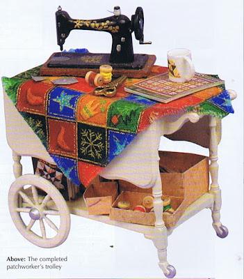 dollhouse miniature sewing trolly