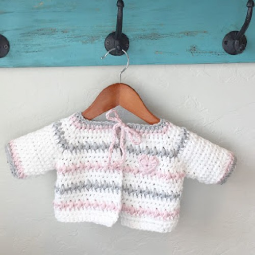 Crochet Baby Sweater in White, Pink and Gray - Free Pattern