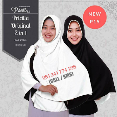 JILBAB Bolak Balik Atau Timbal Balik Original P15 - Black And White