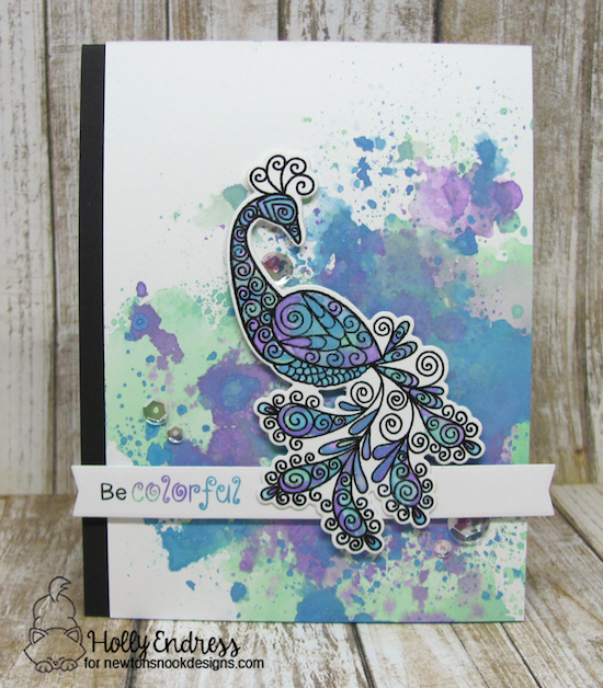 Peacock watercolor card by Holly Endress | Beautiful Plumage Stamp set by Newton's Nook Designs #newtonsnook