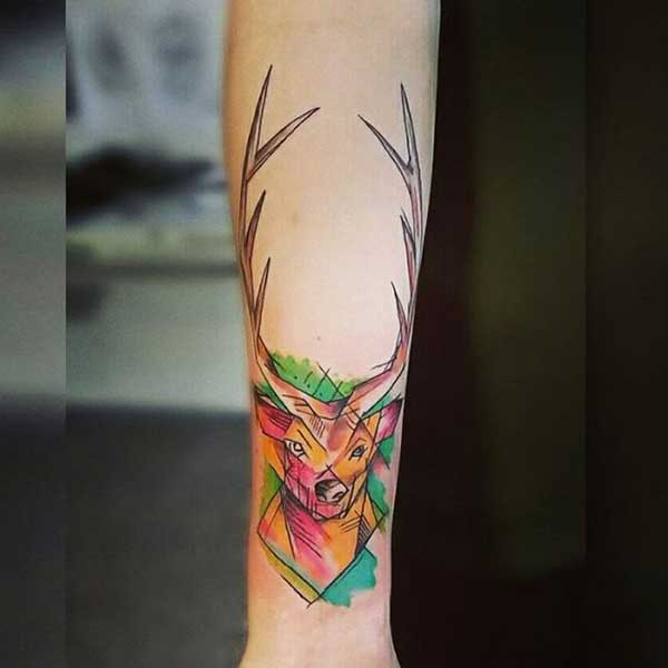 watercolor deer tattoo renkli geyik dövmesi