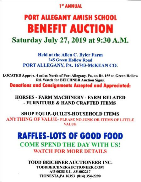 7-27 Amish School Benefit Auction