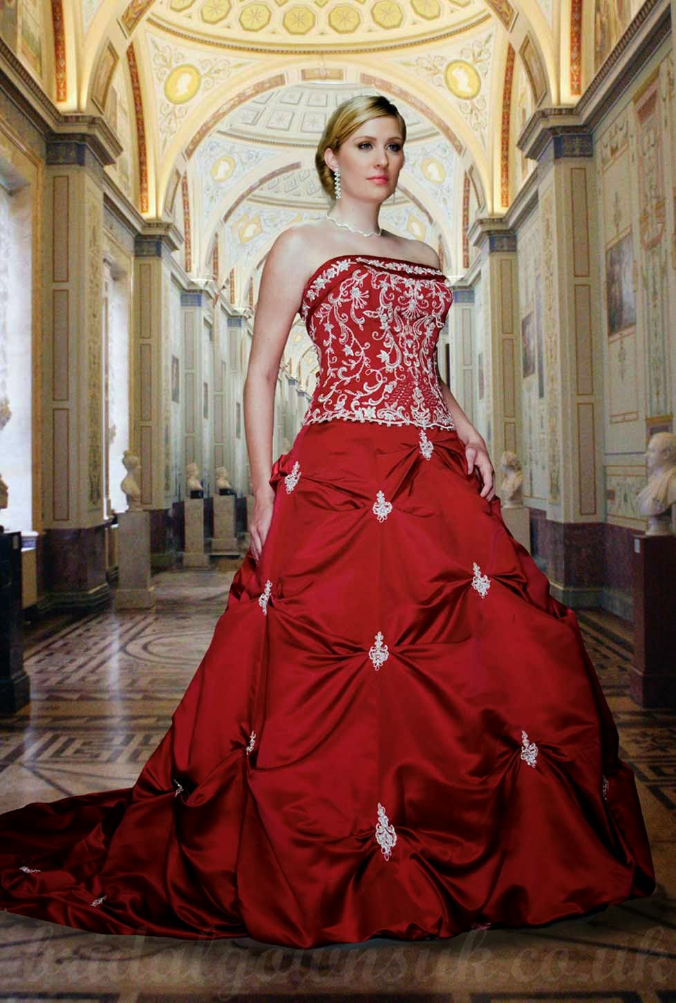 Red Plus Size Wedding Dresses with Long Trains Ideas