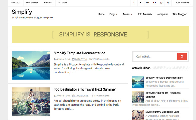Simplify Responsive Blogger Templates