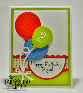 Our Daily Bread Designs Stamp Set: Celebrating You, Paper Collections: Birthday Bash, Birthday Brights , Custom Dies: Pierced Rectangles, Double Stitched Rectangles, Rectangles, Birthday Balloons, Bitty Borders, Numbers, Circles, Double Stitched Circles, Circle Ornament