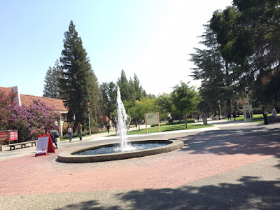A fountain sprouts into the air within a paved area. Around the paved area are tall trees and bushes. Some buildings can also be seen in the trees.