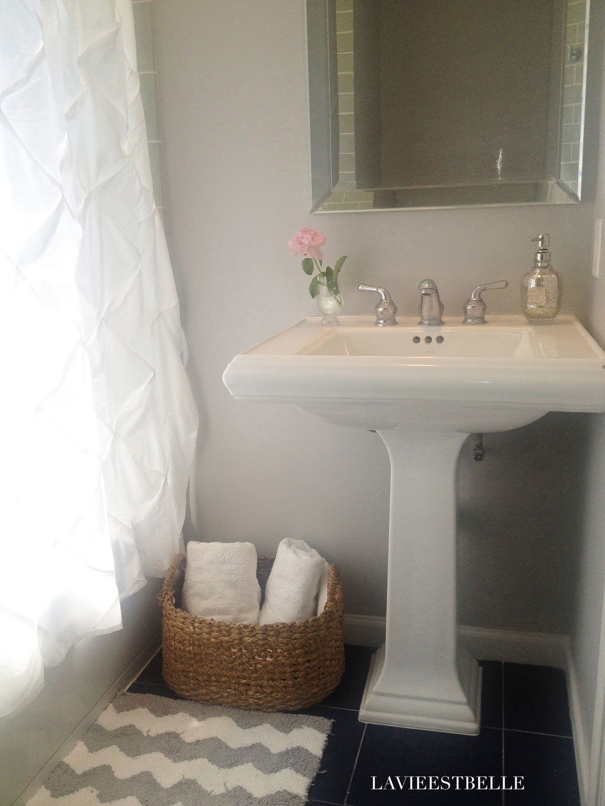I Painted The Bathroom Light French Gray By Sherwin Williams And With A Few Accessories From Target Homegoods Put On Finishing Touches