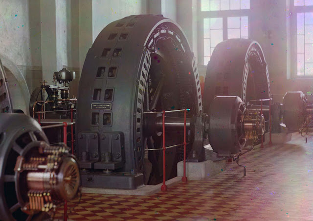 Alternators made in Budapest, Hungary, in the power generating hall of a hydroelectric station in Iolotan (Eloten), Turkmenistan, on the Murghab River, ca. 1910.