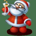Recetas de bebidas para navidad. Caricatura de papá Noel alzando una copa
