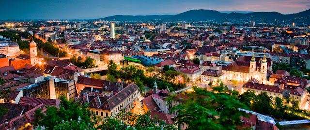 Cidade turística de Graz na Áustria