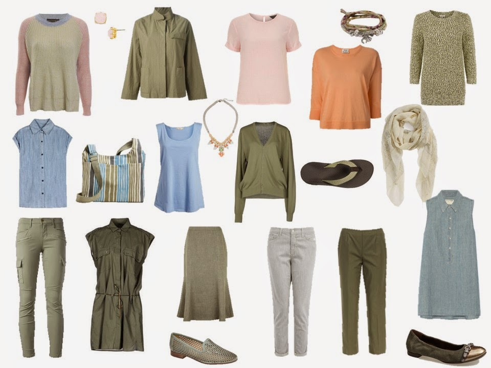 travel or capsule wardrobe based on Elizabeth Blackadder's Dark Pond scarf