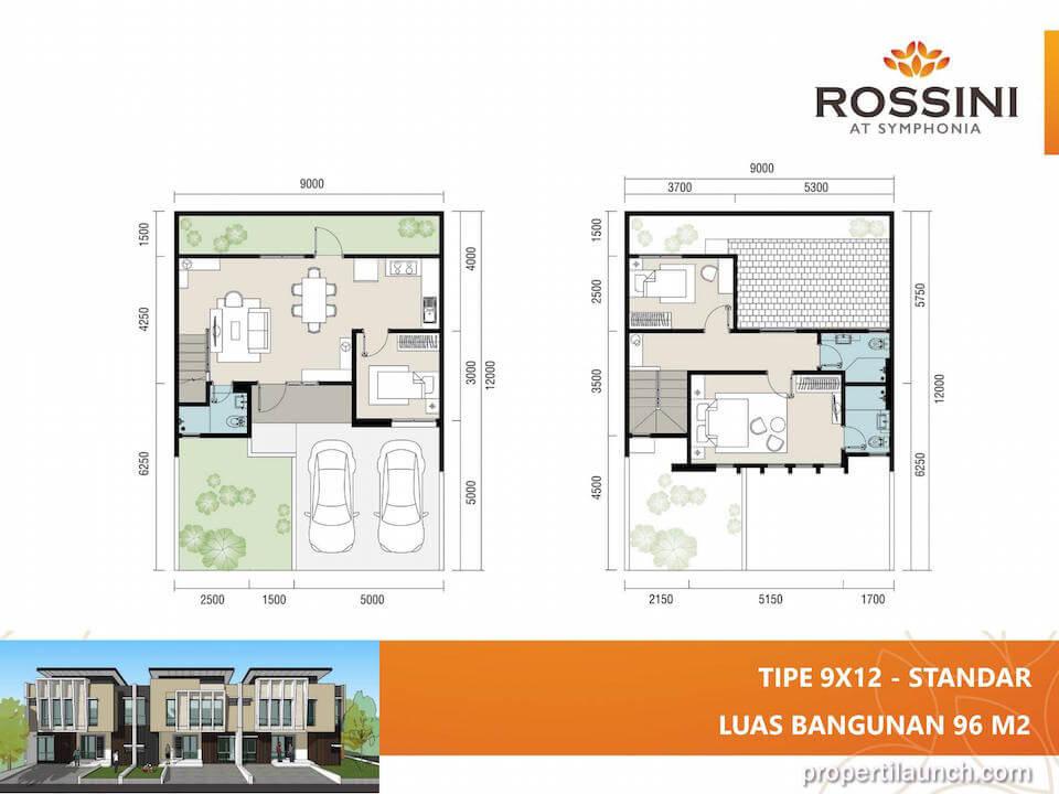 Denah rumah cluster Rossini tipe L9 Standard